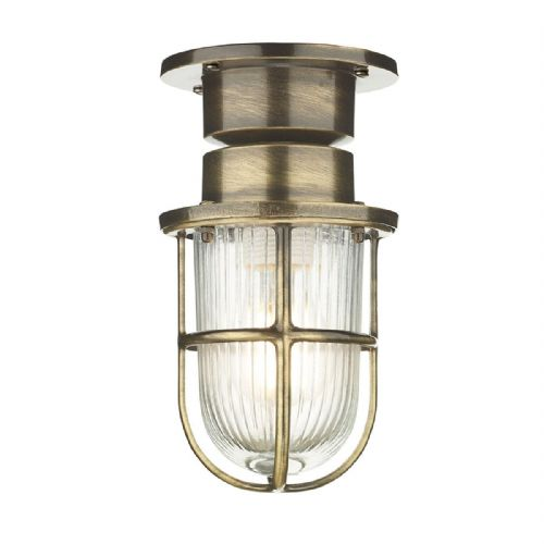 Coast 1 Light Ceiling Light Antique Brass IP44 (Hand made, 7-10 day Delivery)